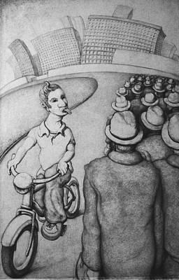 Tennis Shoe Drawing - Bicyclist by Louis Gleason