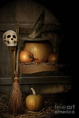 Jack-o-lantern Photograph - Big Pumpkin With Black Witch Hat And Broom by Sandra Cunningham
