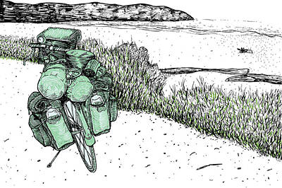 Bike Drawing - Bike At The Beach by Karl Addison