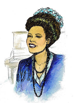 Jazz Band Drawing - Billie Holiday 1947 by Mel Thompson