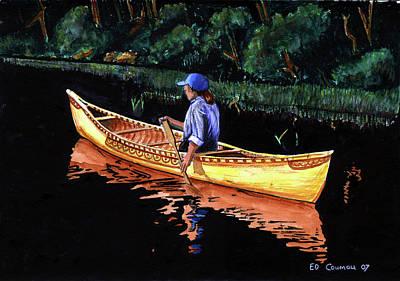 Birch-bark Canoe Painting Original by Edward Coumou