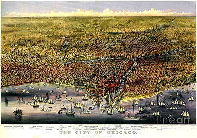 Millenium Park Drawing - Birdseye Map Of Chicago By Parsons And Atwater 1874 by Pg Reproductions