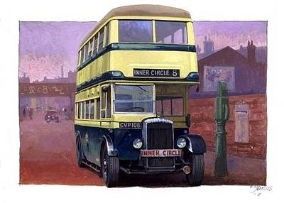 Transportart Painting - Birmingham Daimler Cog5 Offside by Mike  Jeffries