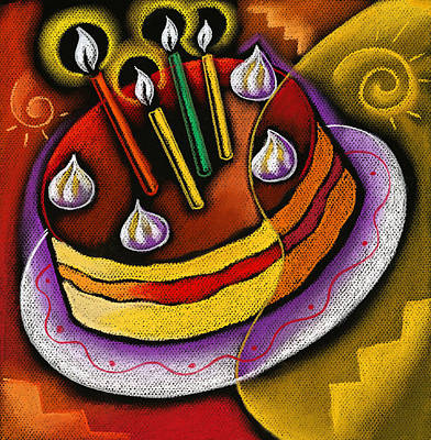 Candle-abstract Painting - Birthday  Cake  by Leon Zernitsky