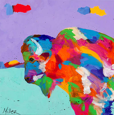 Bison Ablaze Print by Tracy Miller
