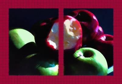 Sour Mixed Media - Bitten Apple Diptych by Steve Ohlsen