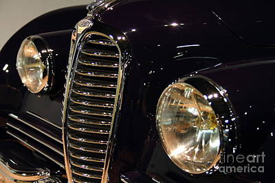 Black 1948 Delahaye . Grille View Print by Wingsdomain Art and Photography