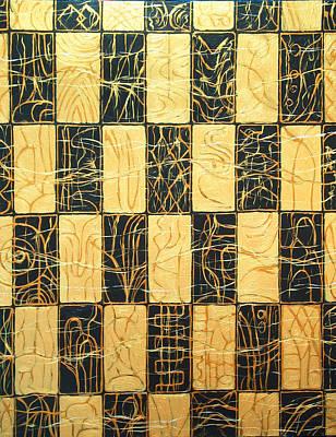 Black And Gold Japanese Checkered Pattern Print by Kazuya Akimoto