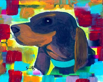 Coonhound Painting - Black And Tan Coonhound by Char Swift