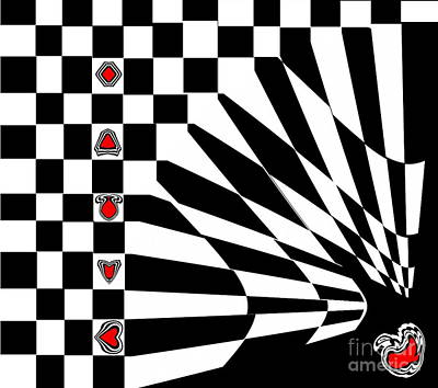 Concentration Digital Art - Abstract Black White Red Art No.107. by Drinka Mercep