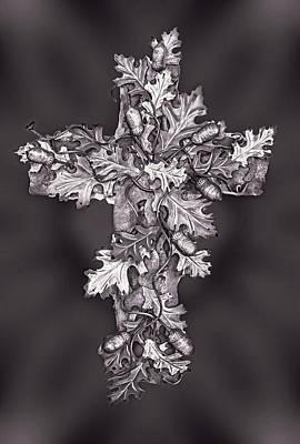 Acorn Digital Art - Black And White Foliage Cross by Linda Phelps
