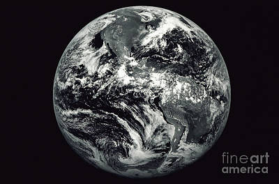 Terrestrial Sphere Photograph - Black And White Image Of Earth by Stocktrek Images