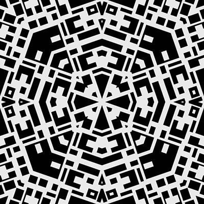 Black And White Kaleidoscope Print by David G Paul