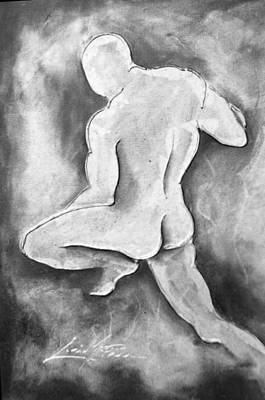 Bodybuilding Painting - Black And White Male Figure by Lori McPhee