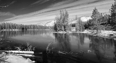 Yellowstone Photograph - Black And White Of Sylvan Lake In Yellowstone by Twenty Two North Photography