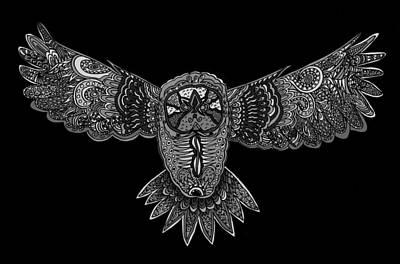 Black And White Owl Print by Karen Elzinga
