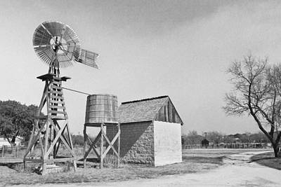 Black And White Windmill Print by Paul Huchton
