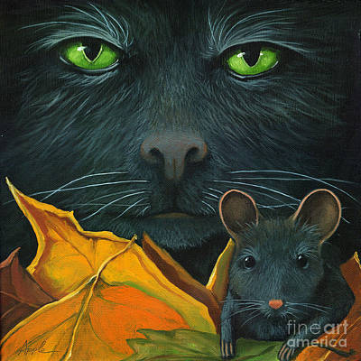 Black Cat And Mouse Print by Linda Apple