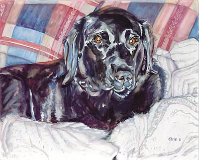 Black Lab Watercolor Painting - Black Lab by Christina Plichta