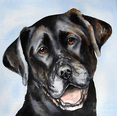 Black Lab Watercolor Painting - Black Lab Smile by Cherilynn Wood