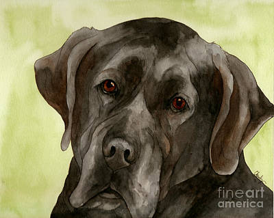 Black Lab Watercolor Painting - Black Labrador by Cherilynn Wood