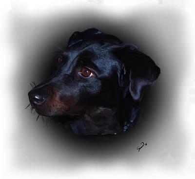 Retriever Digital Art - Black Labrador by Yiries Saad