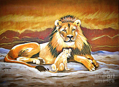 Black Maned Lion And Cub Print by Phyllis Kaltenbach