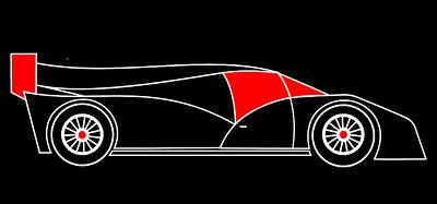 Black Rocket Racing Car Virtual Car Print by Asbjorn Lonvig