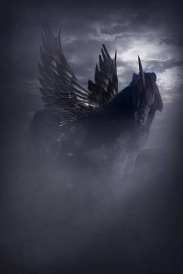 Pegasus Photograph - Black Unicorn Pegasus Fantasy Artwork by Ethiriel  Photography