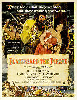 1950s Movies Photograph - Blackbeard The Pirate, Poster Art by Everett