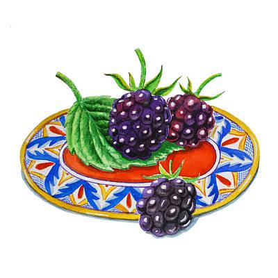 Dining Room Italian Painting - Blackberries by Irina Sztukowski