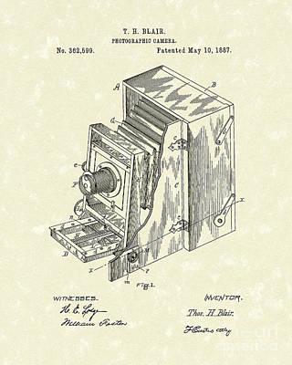 Camera Drawing - Blair Photographic Camera 1887 Patent Art by Prior Art Design