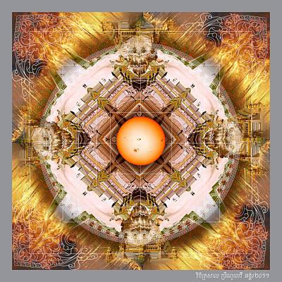 Angkor Digital Art - Blazing Angkor Vat Cloister  by Bruno Levy