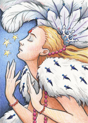 Artist Trading Cards Drawing - Blissful Winter by Amy S Turner