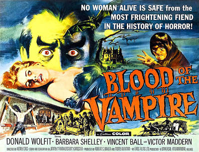 Blood Of The Vampire, Girl On Table Print by Everett