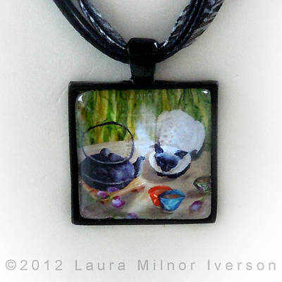 Blossoms And Bamboo Handmade Pendant Original by Laura Iverson
