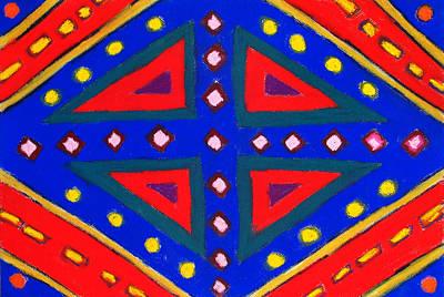Blue And Red Ornamental Pastel Diamond Pattern Print by Kazuya Akimoto