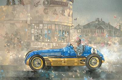 Motor Racing Painting - Blue And Yellow Maserati Of Bira  by Peter Miller