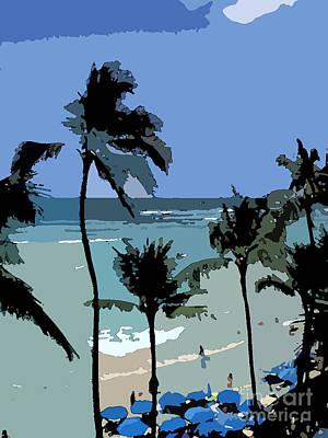Blue Beach Umbrellas Print by Karen Nicholson