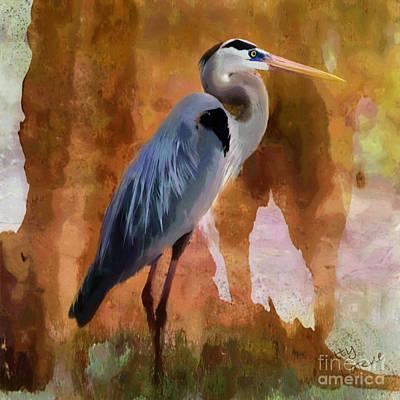 Heron Digital Art - Blue by Betty LaRue