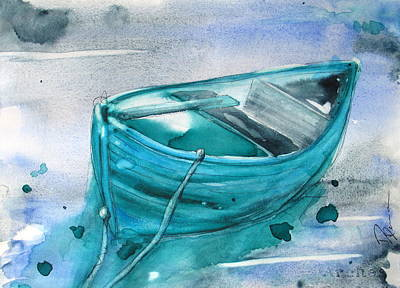 Boats In Water Painting - Blue Boat by Dawn Derman