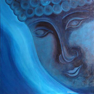Budda Painting - Blue Buddha by Sabina Espinet