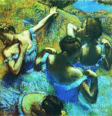 Ballet Painting - Blue Dancers by Pg Reproductions