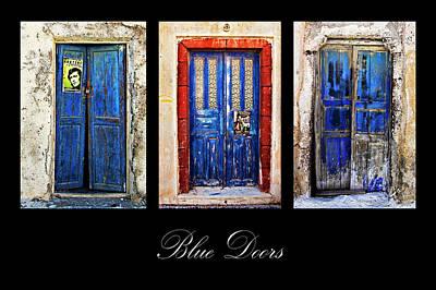 Blue Doors Of Santorini Print by Meirion Matthias