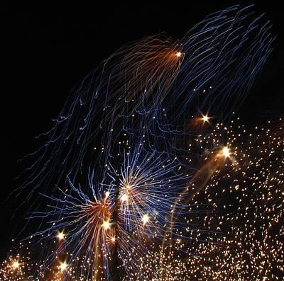 Blue Fireworks Photograph - Blue Fireworks by Denise Keegan Frawley