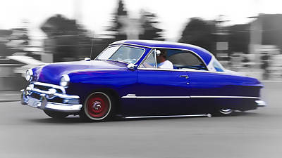 Phil Motography Clark Photograph - Blue Ford Customline by Phil 'motography' Clark
