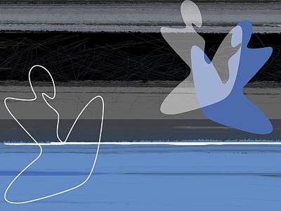 Blue Girls Print by Naxart Studio