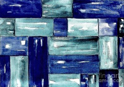 Blue Green Blue Print by Marsha Heiken