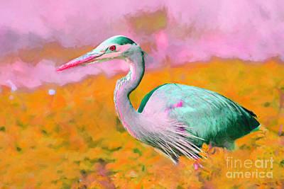 Heron Digital Art - Blue Heron . Painterly by Wingsdomain Art and Photography