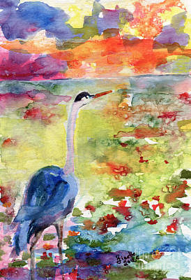 Blue Heron Sunset Watercolor By Ginette Print by Ginette Callaway